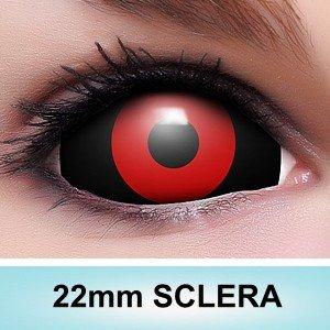 """Sclera Kontaktlinsen """"Tokyo Ghoul"""" in rot schwarz, weich ohne Stärke, 2er Pack inkl. Spiegelbehälter und 50ml Kombilösung – Top-Markenqualität, farbige angenehm zu tragen und perfekt zu Halloween oder Karneval"""