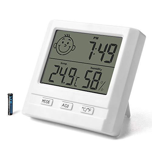 RIUIN Digitales Thermo- Hygrometer Raumluftüberwachtung mit symbolischen Raumklimaindikator Temperatur Luftfeuchtigkeit Uhrzeit weiß