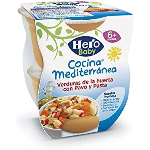 Hero Baby Cocina Mediterránea Verduras de la Huerta con Pavo y Pasta, Tarrina de Plástico - Paquete de 2 x 200 gr - Total: 400 gr