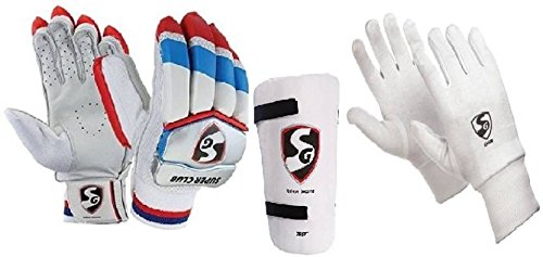 SG Combo von Drei, Ein Paar 'Super Club' (Traditionell) Batting Handschuhe, One 'Test' Elbow Guard und One Paar Club Innen Handschuhe Herren Cricket Kit