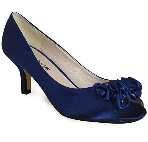 Damen Low Satin Kätzchen Ferse Schuhe Braut Hochzeit Ball Party Blume Schuhe (Shoes Bridal Belle)