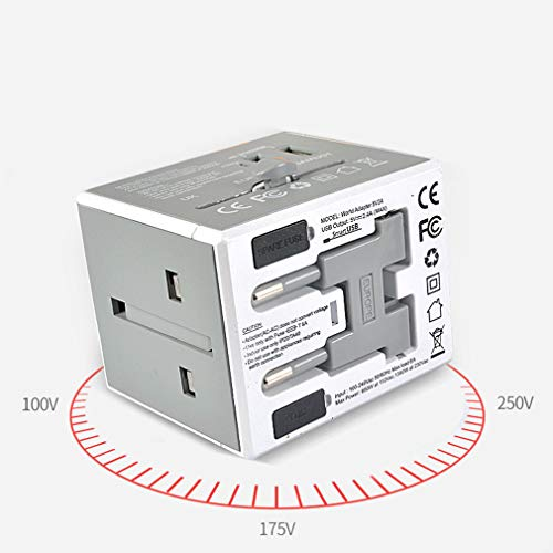 BAI-Light International Power Adapter PC Feuerfestes Material Multi-Country-Konverter All-in-One-Reise-Adapter-Stecker mit Dual-USB-Ports (Farbe : EIN)