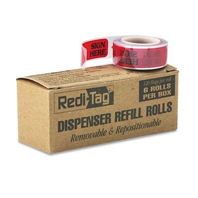 redi-tagar-message-right-arrow-flag-refills-sign-here-red-six-rolls-of-120-flags-box-by-redi-tag