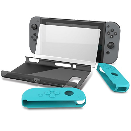 Collen Nintendo Switch Joy-con Silicone Gel Soft Case Tempered Glass Screen Protector Hard Back Case Cover Set (blue) -