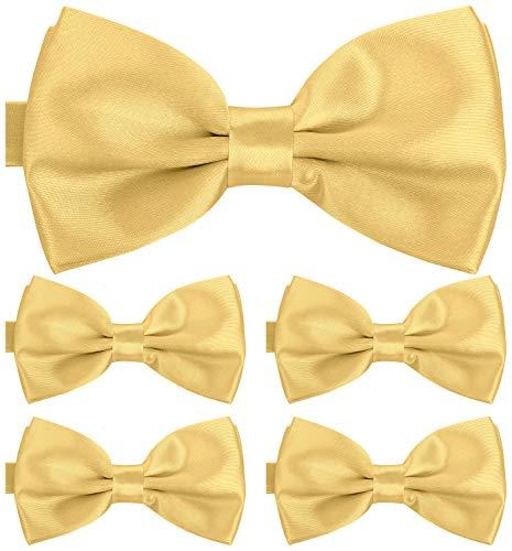 BomGuard Fliege für Herren gold hell I Männer Fliege für Hochzeit, Party oder edele Anlässe I Trendy Bow Tie I 5er Set Schleifen Gold Bow Tie