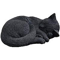 Steinfigur Tierfigur sitzende Katze schwarz patiniert