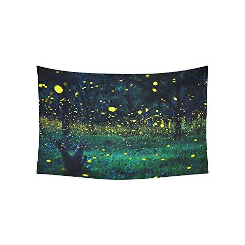mchen fliegen Wald Glühwürmchen Bush Nacht Wandteppiche Wandbehang Blume psychedelischen Wandteppich Wandbehang indischen Wohnheim Dekor für Wohnzimmer Schlafzimmer 60 X 40 Zoll ()