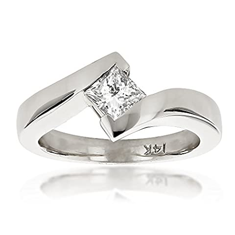 Luxurman Ladies 14k Princess Cut Natural 0.4 Ctw Diamond Solitaire Engagement Ring (White Gold Size 8)