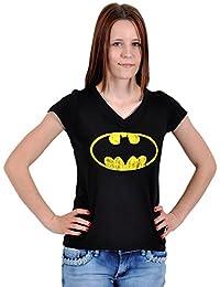Batman Dark Knight - T-Shirt Femme Rétro Logo Distressed Shield - Noir