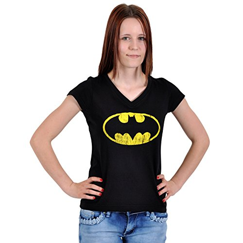 Batman - T shirt Distressed Shield Girlie - Girocollo per ragazza con logo - Nera - L