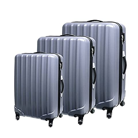 Vesgantti 3-Piece Hard Shell Suitcase Set Luggage 4 Wheels Travel Lightweight 20 24 28 inch Gloss Yellow (3-piece Set, Matte Grey)