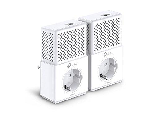 Foto de TP-Link TL-PA7010PKIT - Adaptador de red AV1000 Gigabit Powerline (1000 Mbps, puerto Gigabit, toma de corriente, HDTV, ahorro de energía, Plug & Play, compatible con otros adaptadores, juego de 2)