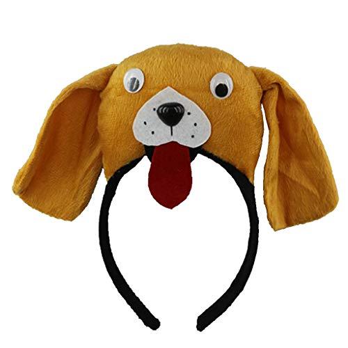 (FLAMEER Tierkopf Haarreif Stirnband Haarband mit Hund Antilope Kuh Küken oder Krokodil Design, aus Stoff - Hund)