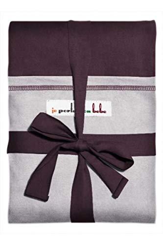 Je Porte Mon Bébé-Echarpe de portage élastique, prune et gris clair