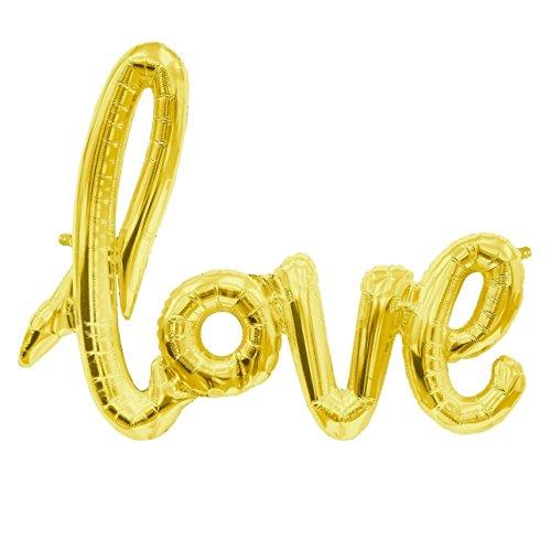 MiBeauty Love Schriftzug Luftballon in Rosegold/Gold/Silber - XXL Folienballon Deko für Hochzeiten, als Geschenk oder Liebes-Überraschung zum Geburtstag oder Valentinstag (Gold)