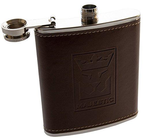 MAJESTIC Flachmann (Edelstahl-Taschenflasche mit Lederoptik, Braun) mit hochwertigem Schraubverschluss, stylische-Trinkflasche, 200ml-7oz