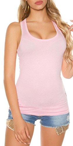 Koucla Damen Shirt mit Trägern Top Gr. S - XL ärmellos Basic Rosa