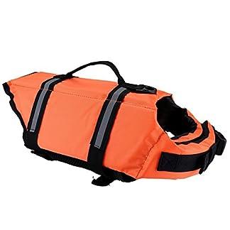 Chytaii Dog Life Jacket Fastening Pet Buoyancy Aid with Reflective Strap Dog Life Vest Coat Preserver Flotation Float Pet Dog Saver Orange M 414zZIXpSnL