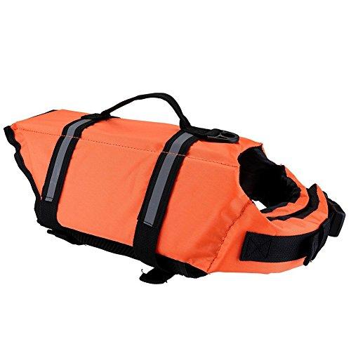 TREESTAR - Chaleco salvavidas para perro, reflectante en la oscuridad, color naranja