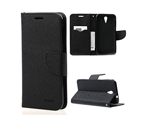 Cubezap Mercury Goospery Fancy Diary Card Wallet Flip Case Back Cover for HTC Desire 620 620G - Black