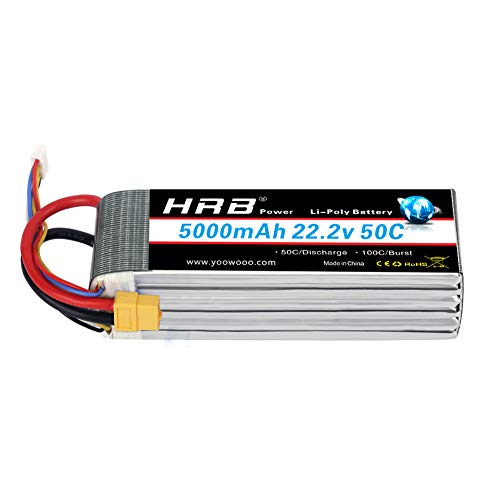 HRB LiPo Akku Pack 5000mAh 22.2V 50C 6S für FPV Racing Quadcopters Diverse Racing Cars Helikopter Flugzeuge und Modellboote (XT60 Stecker)