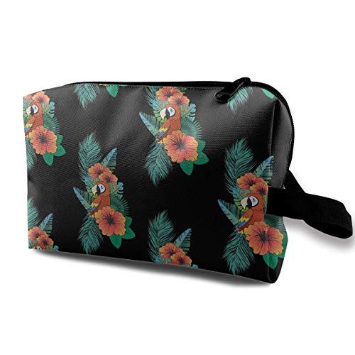 Parrots Hawaiian1 Portable Travel Makeup Bags Toiletry Bag Pen Organizers With Zipper -