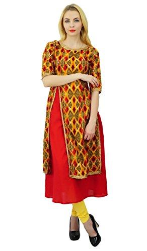Top Coton Motif Abstrait Robe Tunique Kurti Kurti Designer Phagun Femmes Ethniques Multicolore