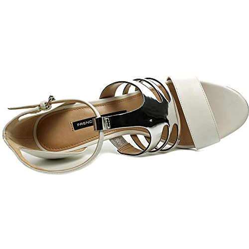 French Connection Lia Femmes Cuir Sandales White-Silver