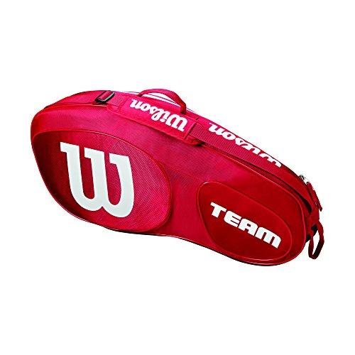 Wilson Damen/Herren Tennis-Tasche, für Spieler aller Spielstärken, Team III 3 PK, Einheitsgröße, rot/weiß, WRZ857803