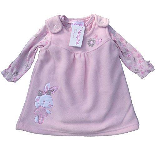 bebe-nina-rosa-2-piezas-vestido-y-body-y-gorro-para-bebe-rosa-rosa-talla3-6-meses