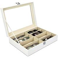 Boîte à lunettes pour ranger 8 lunettes - Blanc 34 x 25 x 8 cm - Présentation lunettes de vue et de soleil