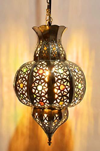 Orientalische Lampe Pendelleuchte Charifa 33cm Silber E27 Lampenfassung   Marokkanische Design Hängeleuchte Leuchte aus Marokko   Orient Lampen für Wohnzimmer, Küche oder Hängend über den Esstisch