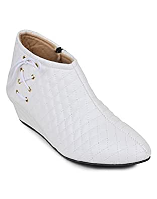 TEQTO Stylish & Fashionable Synthetic Ankle Boot's for Women-White/36