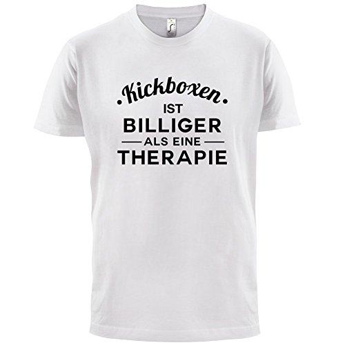 Kickboxen ist billiger als eine Therapie - Herren T-Shirt - 13 Farben Weiß