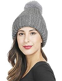 Invierno Cálido Gorros de Punto Mujer Hombre Engrosamiento Cálido Beanie  con Pompón Sombrero Punto Ski e17281a1e01