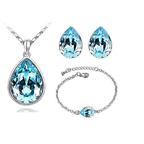 Parure goutte avec bracelet cristal swarovski elements plaqué or blanc Bleu turquoise