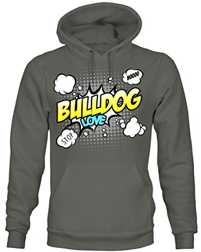 Unisex Hoodie Kapuzensweatshirt - BULLDOG englische französische french english continental - COMIC Cartoon Fun Siviwonder dark grey L (Bulldog Englisch Hoodie)