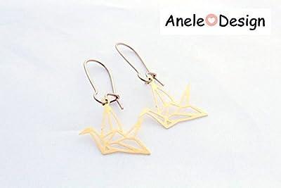 Boucles d'oreille filigrane doré - oiseau colibri origami