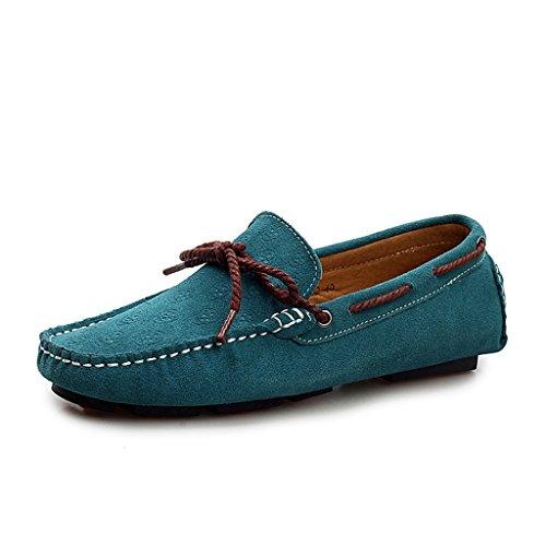 Minitoo Men's Plus Motif Floral décontracté Loafer Chaussons mocassins en daim pour chaussures bateau Bleu - bleu