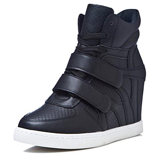 Damen Bequeme Keilabsatz Sneaker-Wedges Schnürschuhe Stiefeletten Schuhe Plateau High-Top Sneaker Schwarz