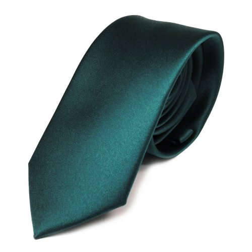 Schmale TigerTie Satin Krawatte grün petrol dunkles türkis uni Polyester