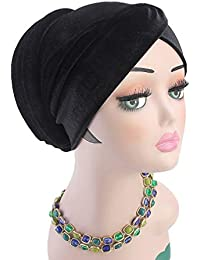 787502690ac Xiang Ru Women Muslim Sponge Bandana Cap - Velvet Solid Color - Chemo Hat  Head Wrap