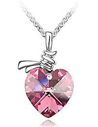 Allure Tags Women Pink Crystal Stone Heart Silver Chain Pendant Necklace