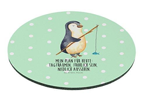 Mr. & Mrs. Panda Mauspad rund Pinguin Angeler - 100% handmade in Norddeutschland - Angeln, Büro, Geschenk, Tagträume, Hobby, Angler, Wochenende, Motiv, Kreis, Plan, Geschenk, Druck