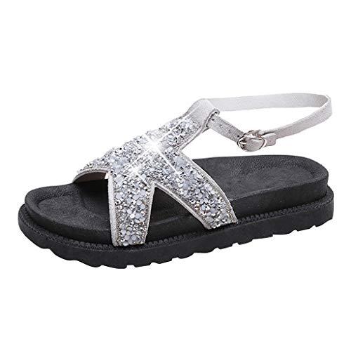 UEVOS Neue Sandalen Damen Sommer Süß und Lieblich Bling Pailletten Tuch Runde Kappe Mit Muffinboden Sandalen Freizeit Schuhe Faux Peep Toe