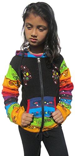 Little Kathmandu Kinder Schwarz Regenbogen Pixie Hood Baumwolle Jacke 8 Jahre (Pixie Kostüm Für Kleinkind)