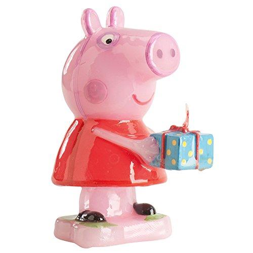 dekora 346089 Vela de Cumpleaños de Peppa Pig con Un Regalo, Cera, 3x3x8 cm