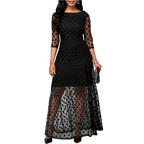 YuJian12 Sommer Frauen Kleid Polka Dot Print Lace Maxi Kleider für Frauen Elegante Damen Kleider Casual Schwarz Plus Size Abend Party Dress-in Kleider von Frauen Wie das Foto zeigt Hand-seersucker