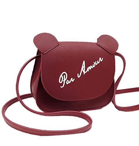 (Jnday Mädchen Jungs Messenger Bag Klein Schultertasche Weich Leder Henkeltasche Cute Elegant Umhängetasche Ultraleicht Citytasche (Rot))