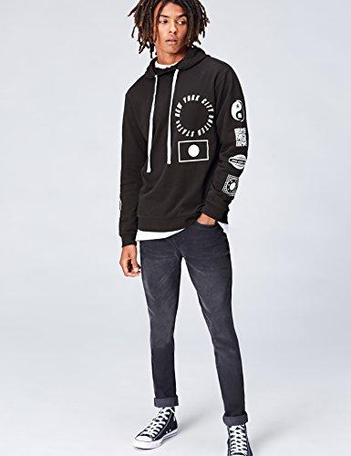 ... FIND Hoodie Herren aus Baumwoll-Jersey mit Logo-Prints Schwarz (Black  001) ...